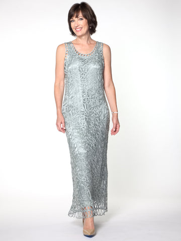 C120 Sleeveless Silk Beaded Hand Crochet Evening Dress