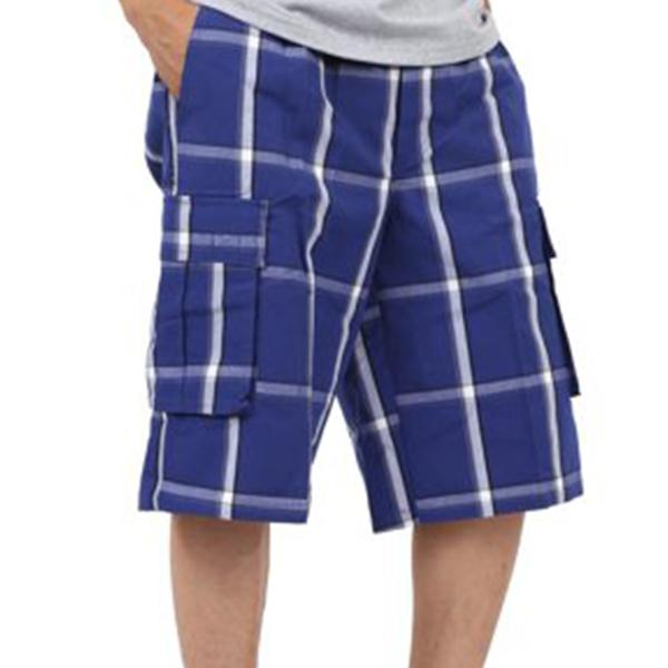 Plaid Cargo Shorts - Royal Blue - Million Dolla Motive