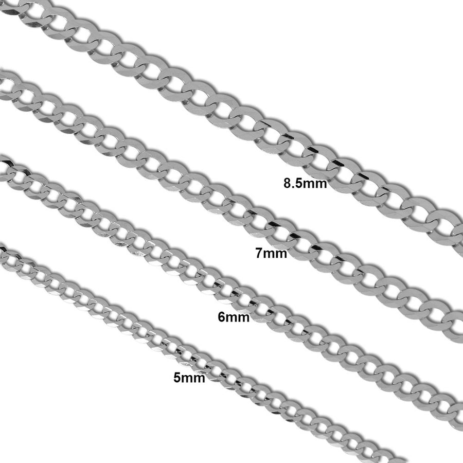 Cuban Link Chain - 14K Solid White