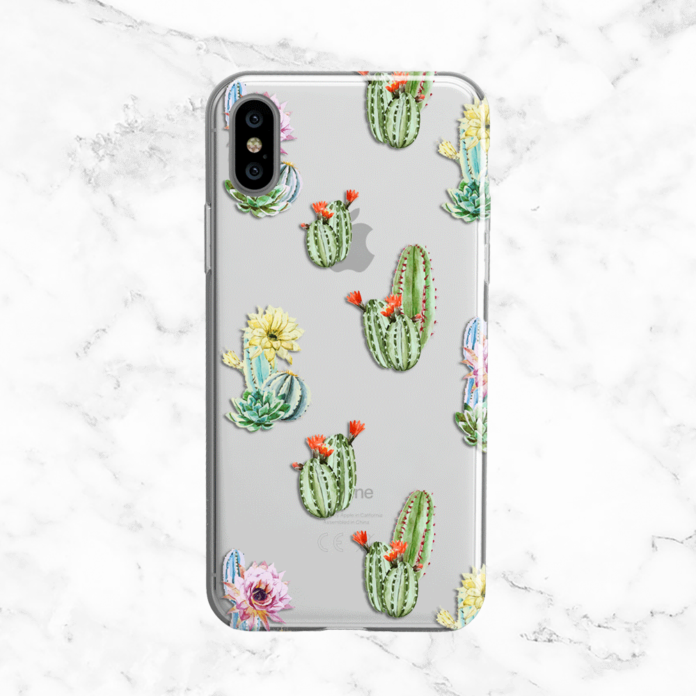 Watercolor Floral Cactus Pattern Phone Case - Clear Printed TPU