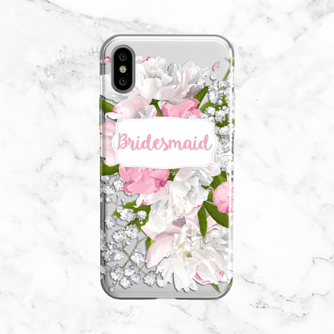 White Peony Bridesmaid Clear Phone Case
