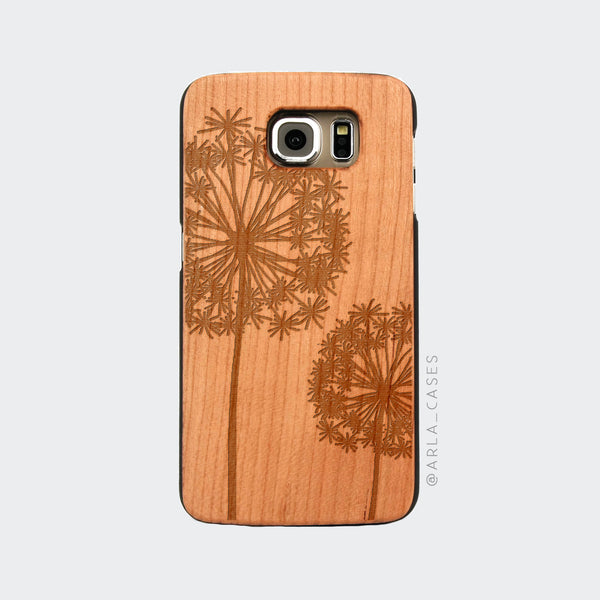 Dandelion Engraved on Wood Galaxy Case