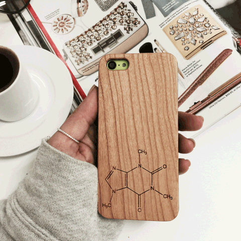Caffeine Chemistry Compound Wood iPhone and Galaxy Phone Case