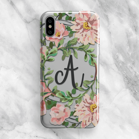 Pink Floral Custom Monogram Phone Case