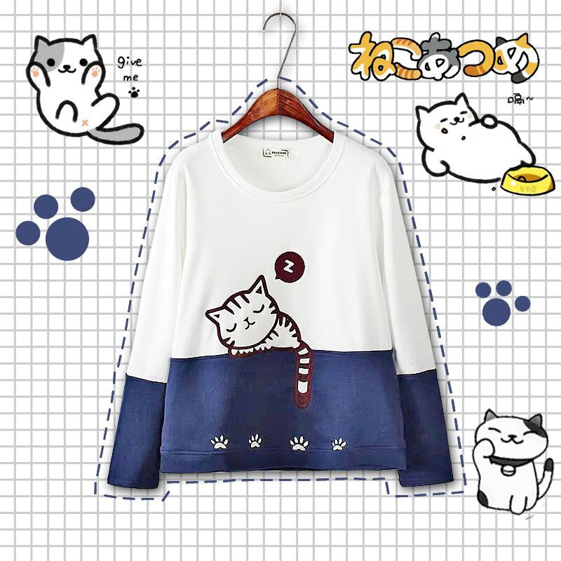 Cute Cat Fleece Pullover SE9183
