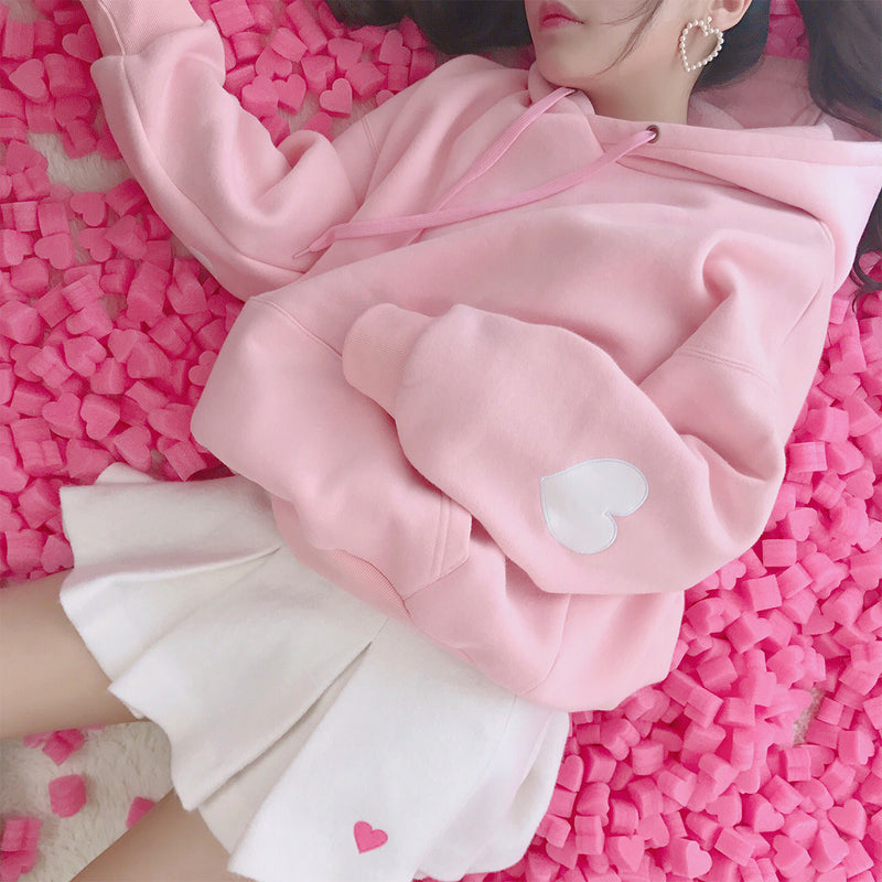 Pink/white hoodie thick pullover SE10532