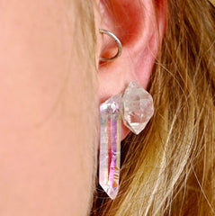 Opal aura quartz point crystal natural earrings studs
