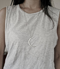 Moon necklace in matte gold crescent