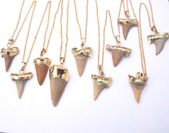 Delicate gold dipped sharks tooth necklace // tooth necklace // layering necklace // 22k gold dip // boho necklace // hippy // fossilised