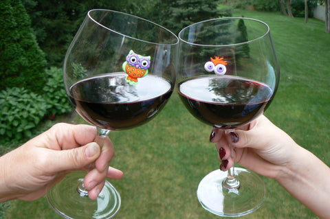 Halloween wine charms magnetic owl