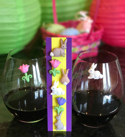 wine charms Easter bunnies