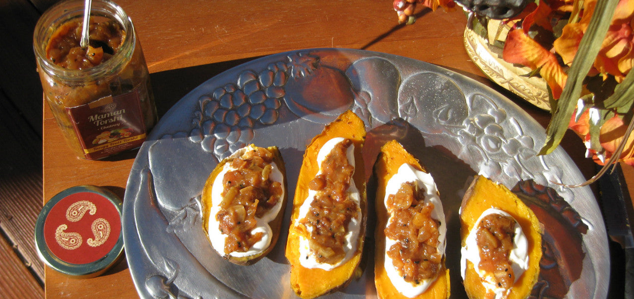 Baked Sweet Potatoes with Tangy Fruit Torshi (Miveh)