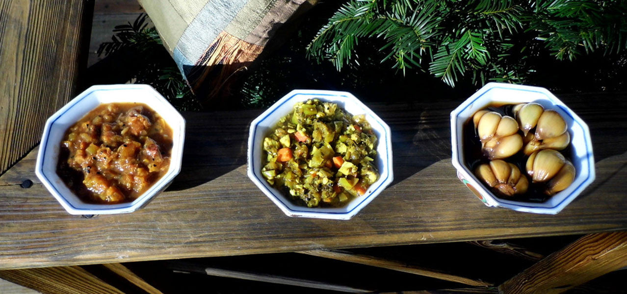 Bowls of 3 Torshis: Savory Veggie, Tangy Fruit and Aged Garliv