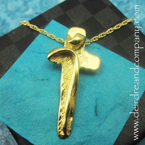 I Am with You Always Crucifix Necklace in 14K Gold Vermeil