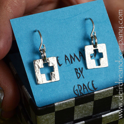 Be Amazed Sterling Cross Earrings