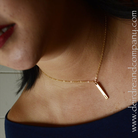 Cross Blessing Bar Necklace in 14K Gold Vermeil