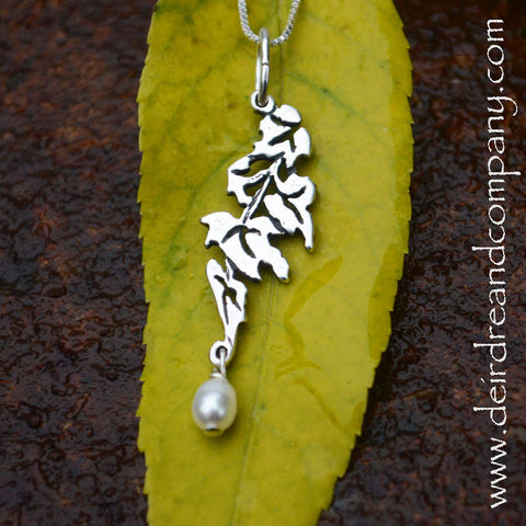 Falling Leaves Sterling Necklace with Pearl