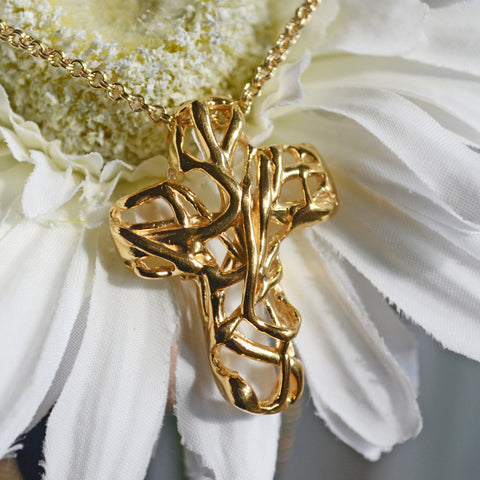 Mexico Cross Necklace in 14K Gold Vermeil