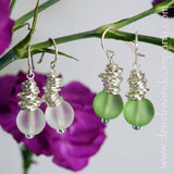 Cascade Recycled Glass and Silver Earrings
