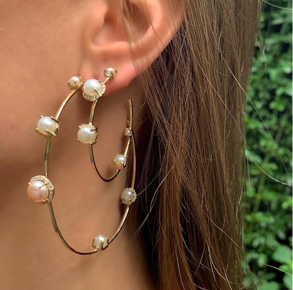 Diamond Pearl Hoops