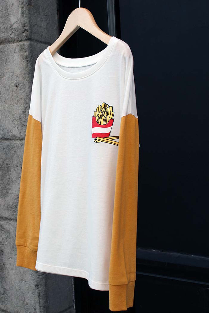 French Fries Drop Shoulder Tee - Bam Kids
