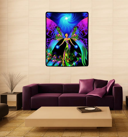 "Large Angel Tapestry, Visionary Spiritual Art ""Breaking Free"" 40"" x 50"""