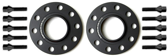 Mini Cooper R60 Countryman & R61 Paceman Wheel Spacers by BMS w/10 Black Extended Wheel Bolts (Pair, 2 Wheels)