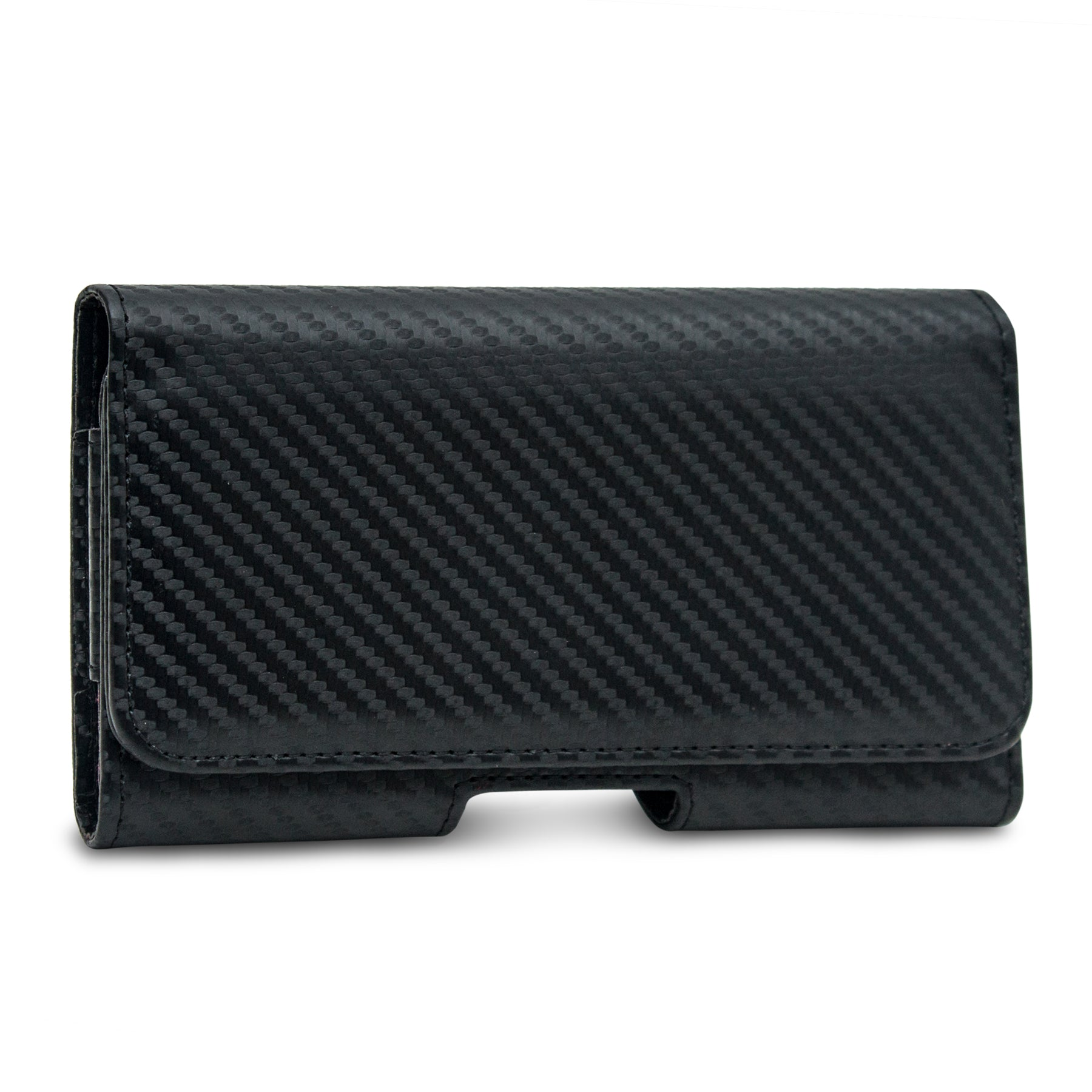 Phone Sleeve Pouch with Magnetic Lock for 4 Inch to 5 Inch Phones (Carbon Fiber Black)