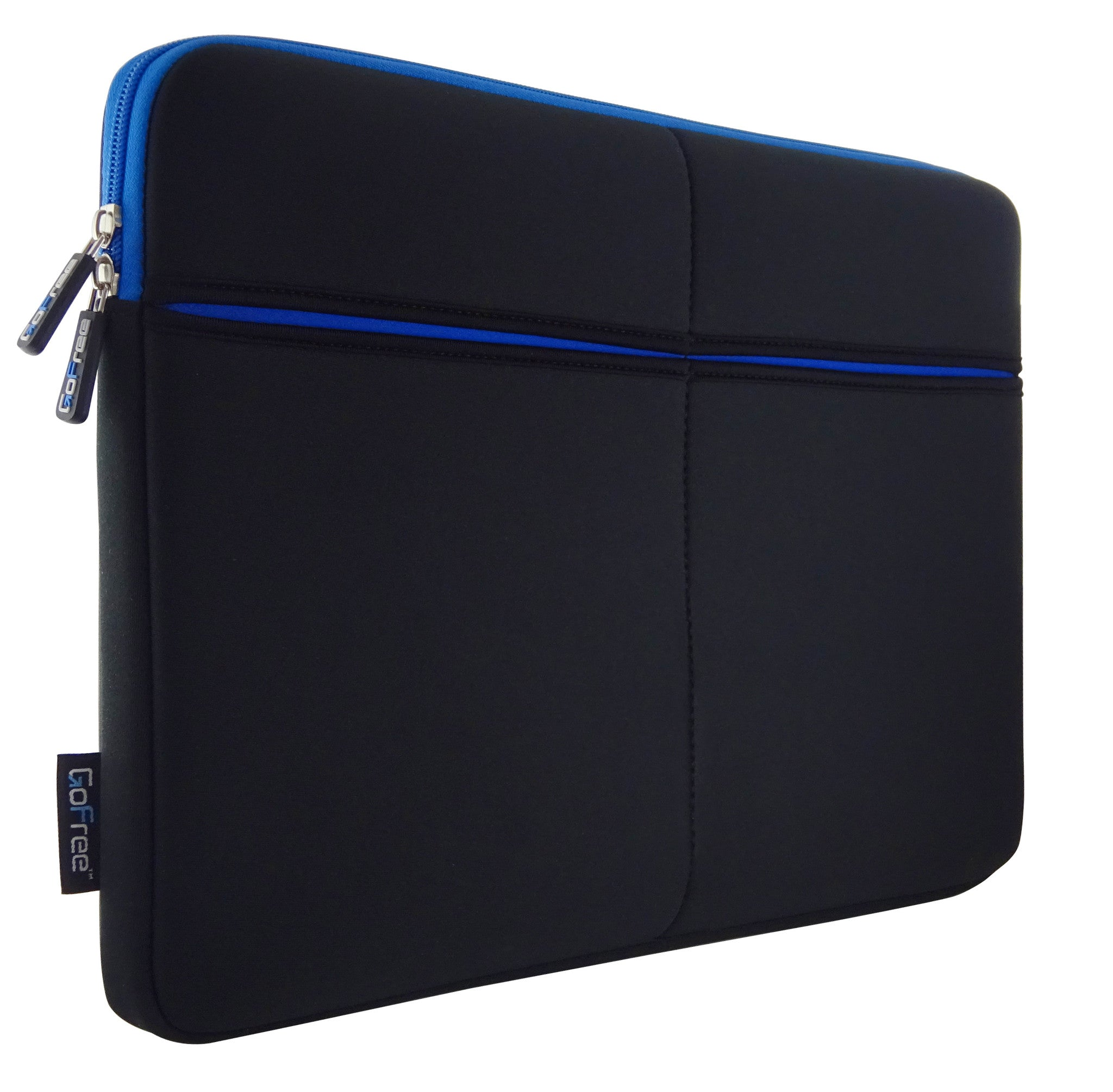 GoFree Slim Line 13 inch Laptop Sleeve - Super Compact & Uber Stylish -  Black w/ Azure Blue Accents