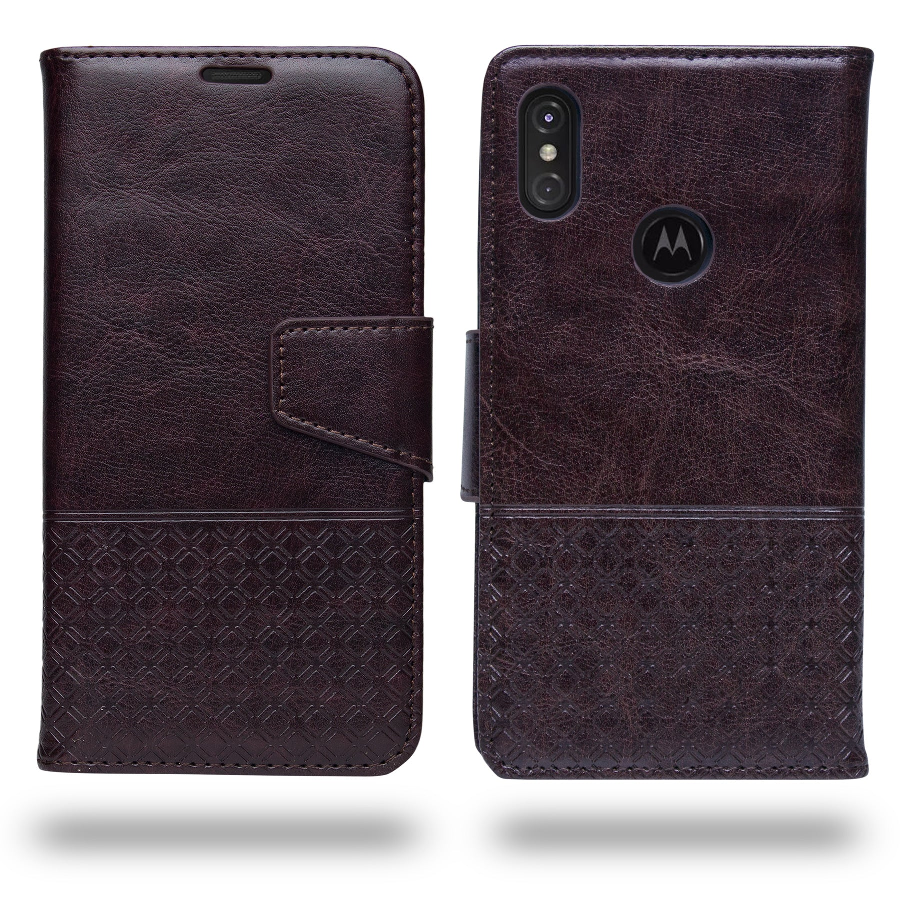 Ceego Luxuria Compact Wallet Flip Cover for Motorola One Power (Chestnut Brown)