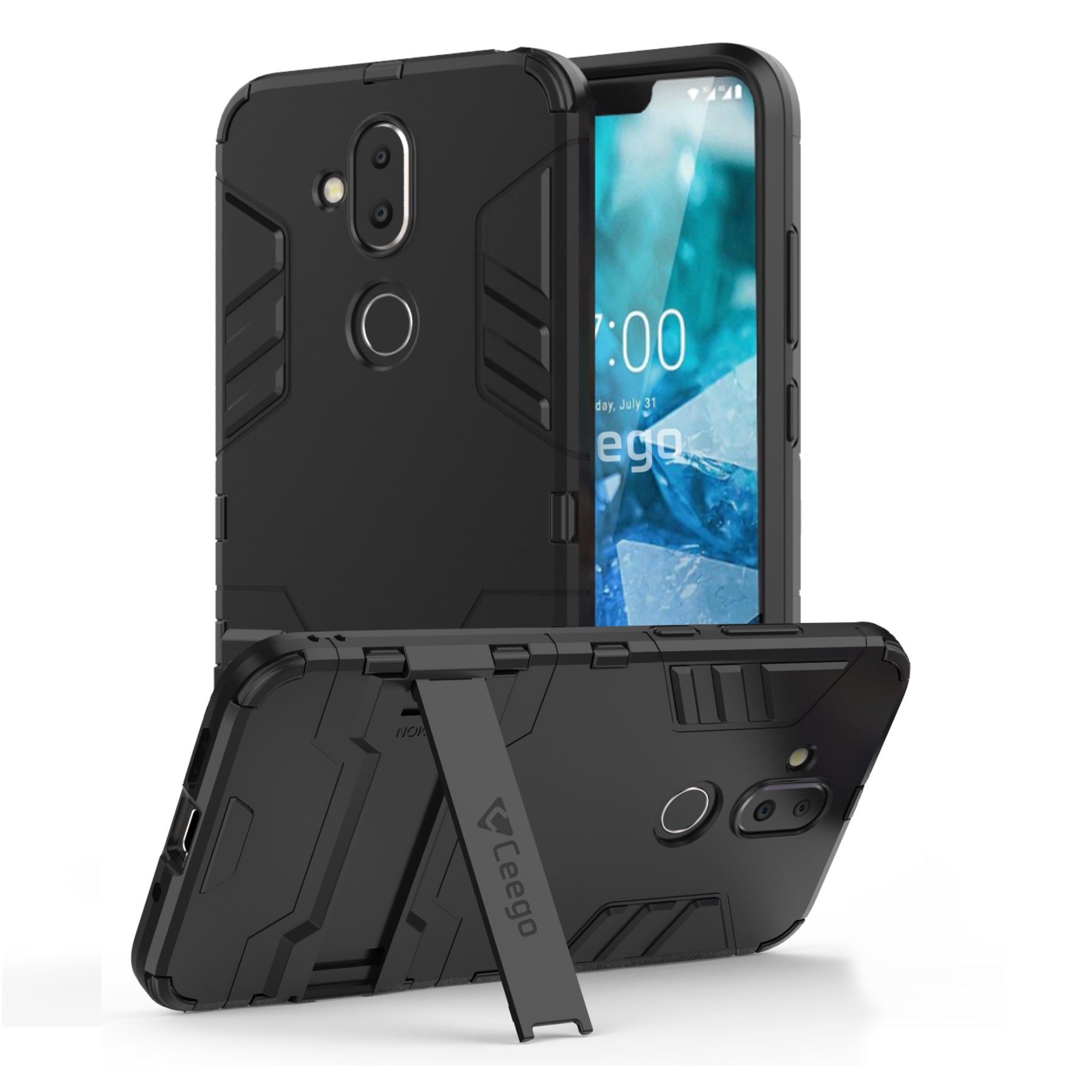 Ceego Stealth Defence Back Case for Nokia 7.1 Plus  – Matte Black