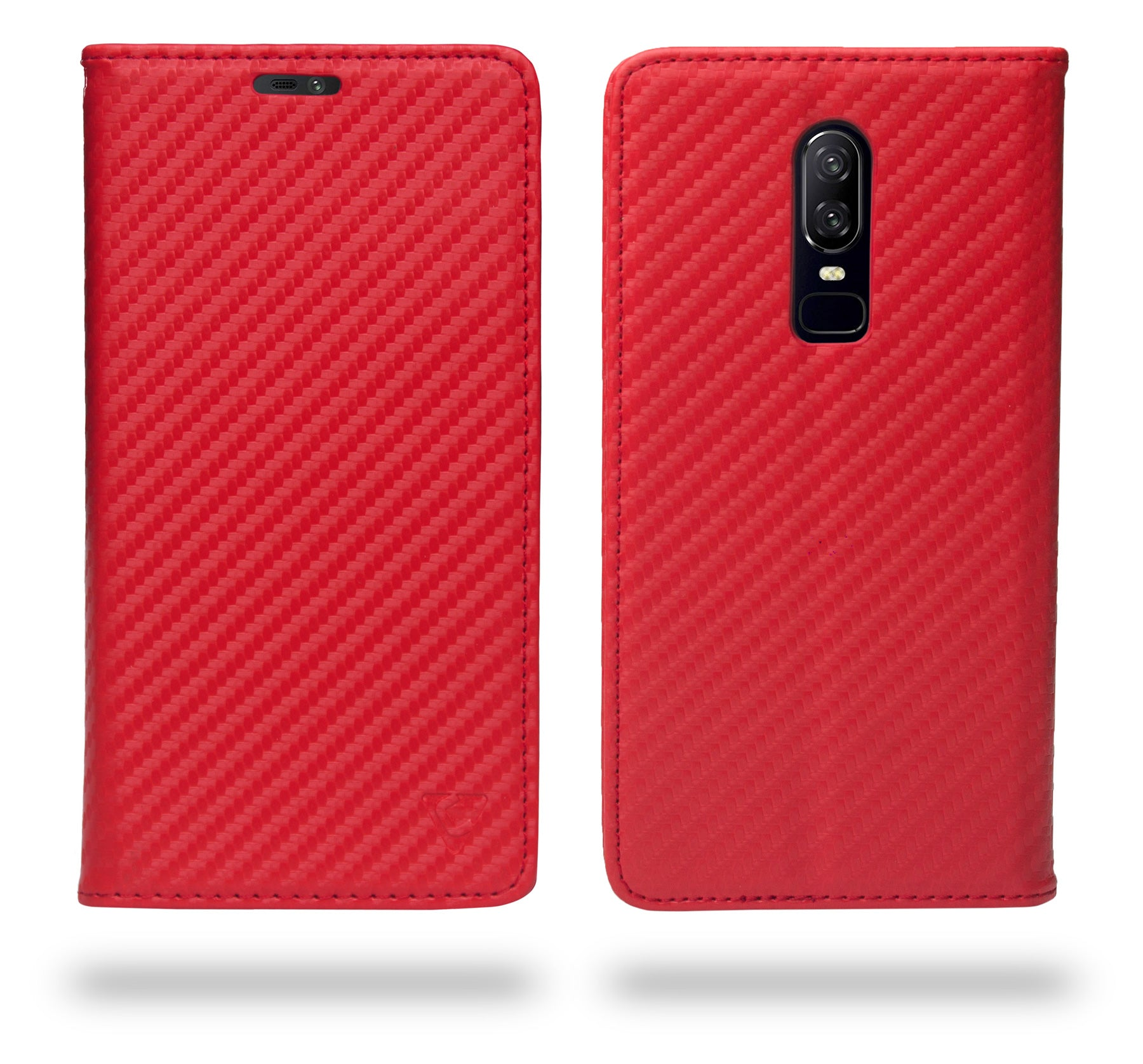 Ceego Compact Carbon Fiber Flip Cover for OnePlus 6 With Magnetic Lock (Scorching Red)