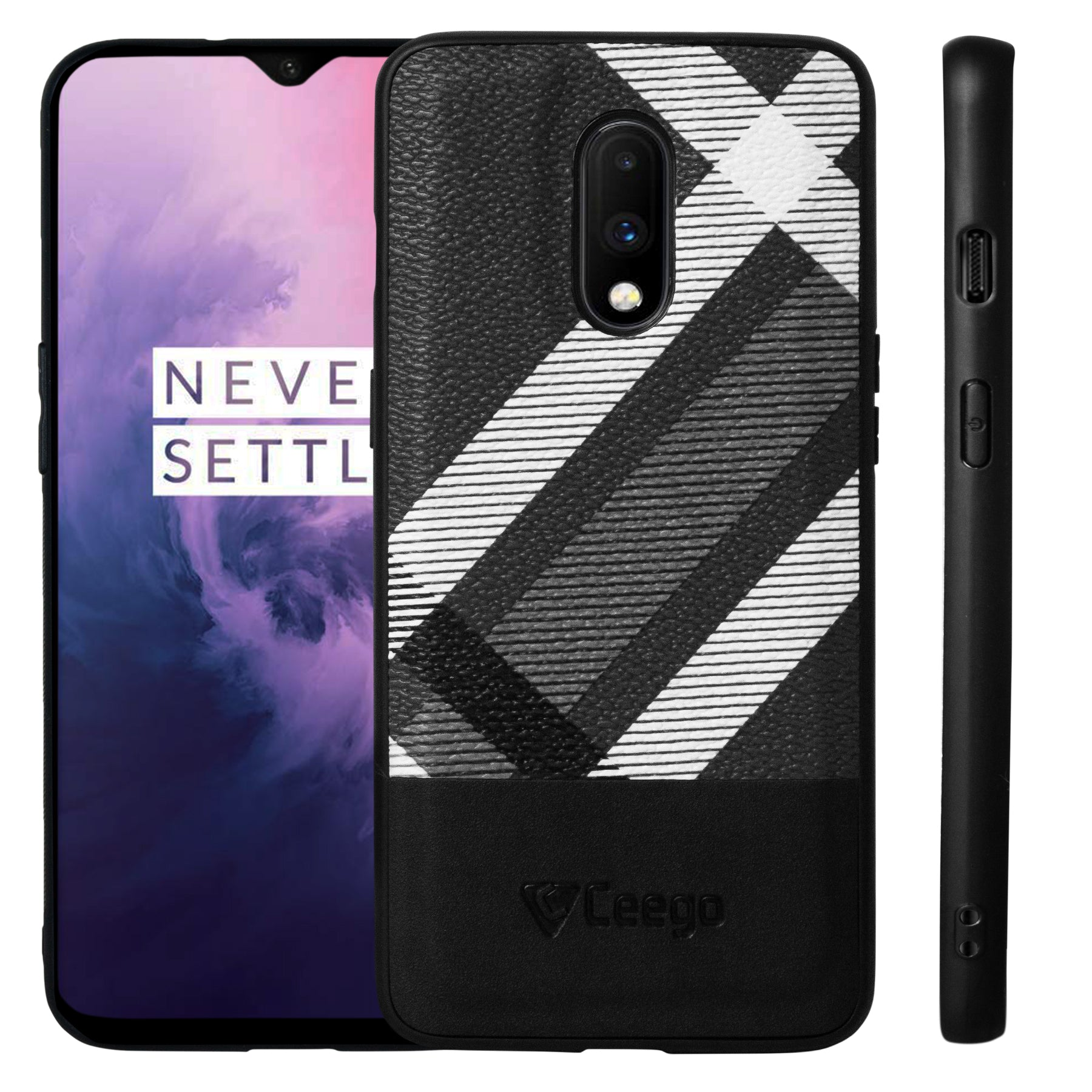 Ceego Elita Ultra Slim Back Case for OnePlus 7 (Abstract Pattern - Black)