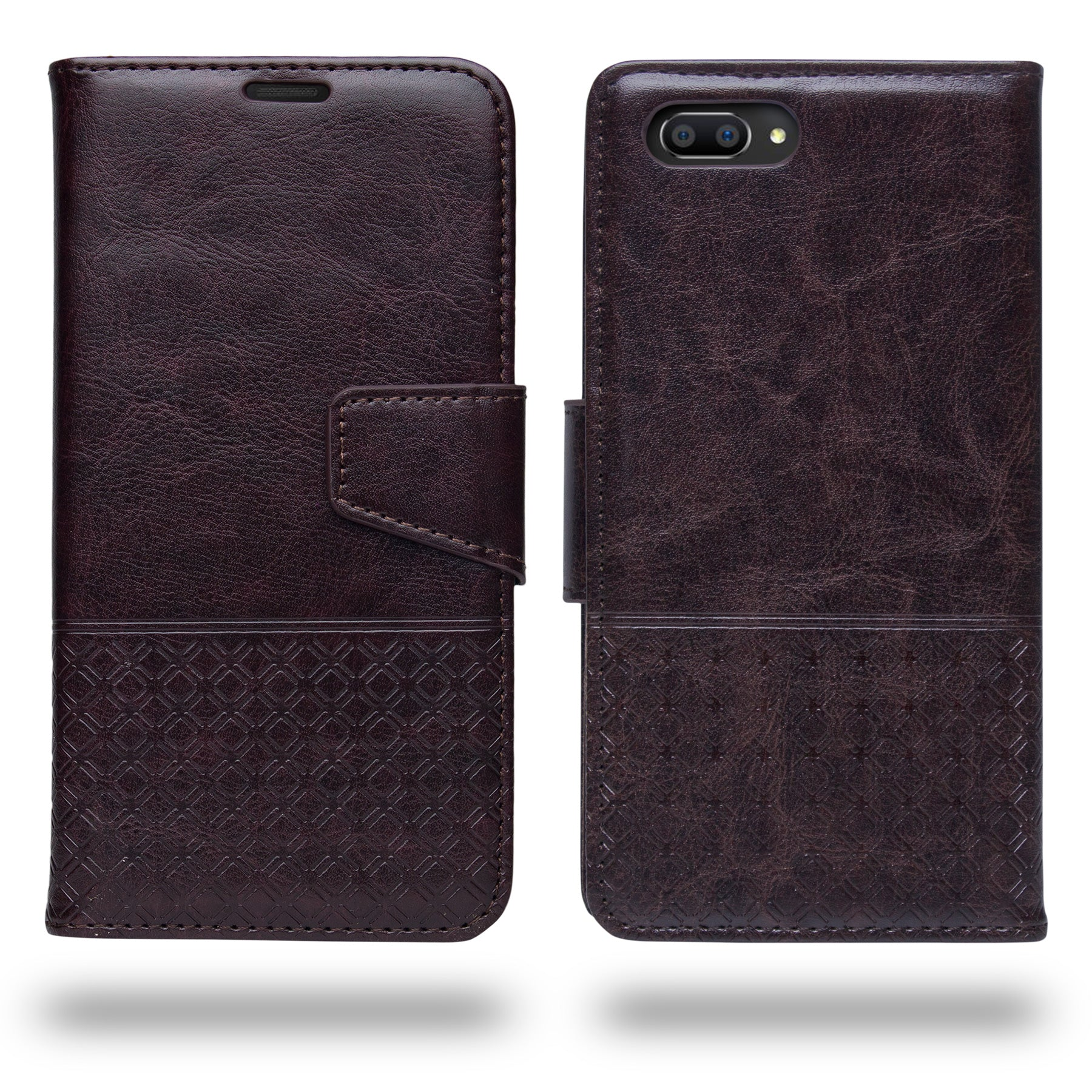 Ceego Luxuria Compact Wallet Flip Cover for RealMe C1 (Chestnut Brown)