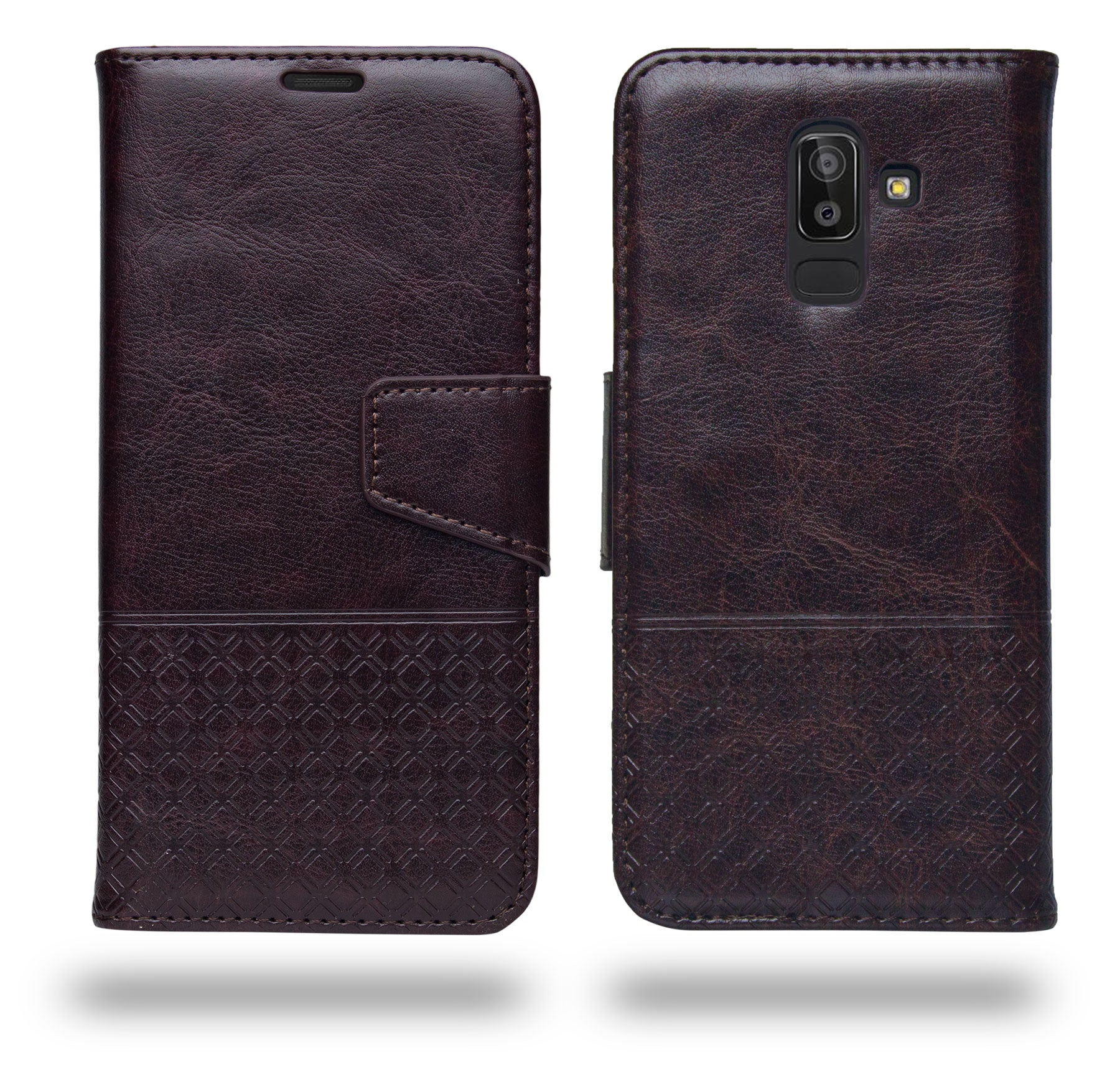 Ceego Luxuria Compact Wallet Flip Cover for Samsung Galaxy J8 2018 (Chestnut Brown)