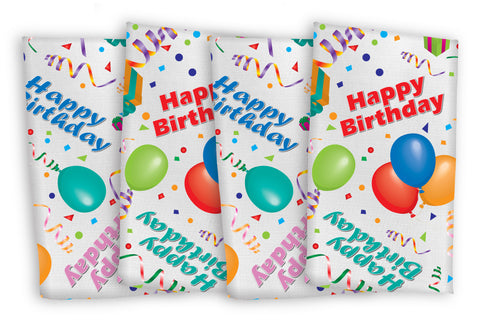 "Happy Birthday  Napkins 17""x17"" White Background, Cool Colors (4pkg)"