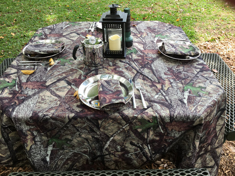 "True Timber Camo Camping Set (1) 50"" x 120"" Tablecloth and (10) Napkins"