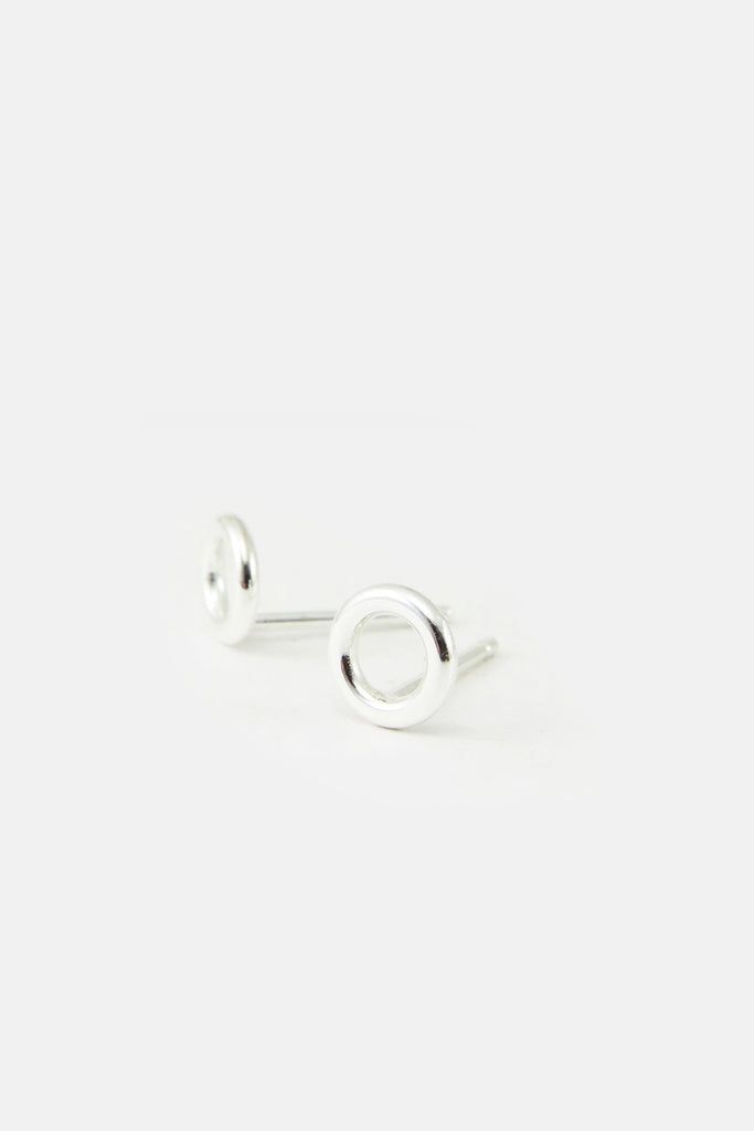 Small donut earrings, silver
