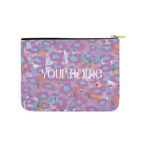 Personalized Small Carry-All Pouch 8''x 6'' Light Purple Animal Print - Biglove