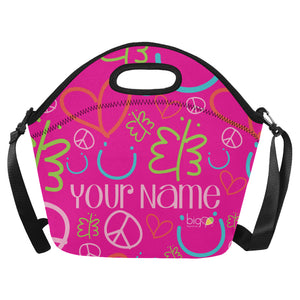 Personalized BIG Neoprane Lunch Bag Pink Logo Pattern - Biglove