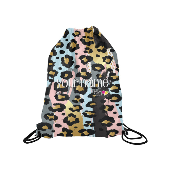 Personalized Drawstring Bag Pastel Animal Print