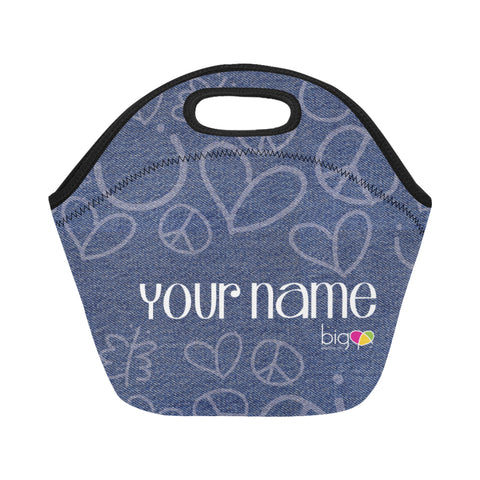 Personalized SMALL Neoprane Lunch Bag Denim - Biglove