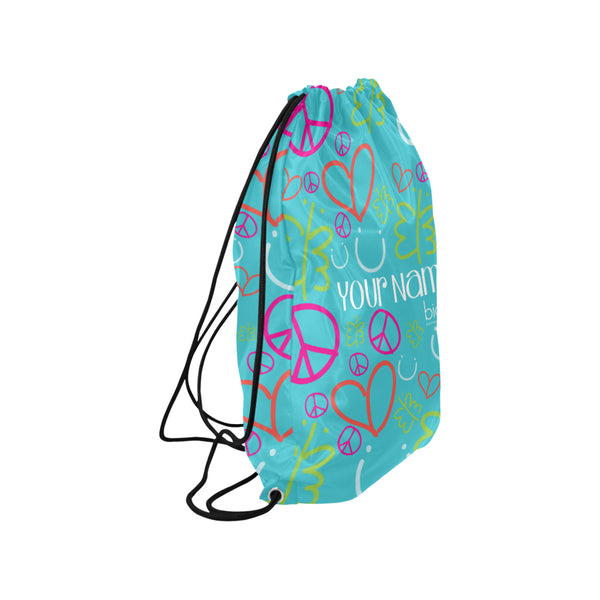 Personalized Drawstring Bag Blue Logo Pattern