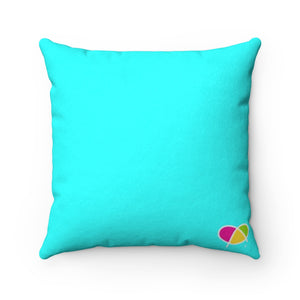 Happy Blue Faux Suede Square Pillow - Biglove
