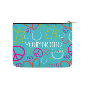 Personalized Small Carry-All Pouch 8''x 6'' Blue Logo Pattern