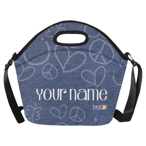Personalized BIG Neoprane Lunch Bag Denim - Biglove