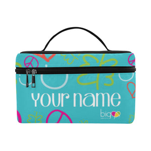 Personalized Rectangular Lunch Bag Blue Logo Pattern