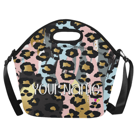 Personalized BIG Neoprane Lunch Bag Pastel Animal Print - Biglove