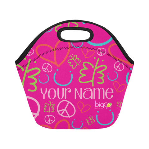Personalized SMALL Neoprane Lunch Bag Pink Logo Pattern - Biglove