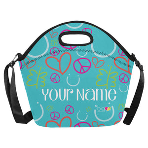 Personalized BIG Neoprane Lunch Bag Blue Logo Pattern